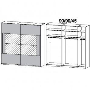 226 cm Schwebetürenschrank - mit Spiegel