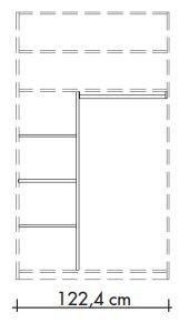565801 T-Einteilungs-Set für Schwebetürenschränke 565001 und 565018, bestehend aus Mittelseite, 3 Einlegeböden und Kleiderstange, Breite 122,4 cm