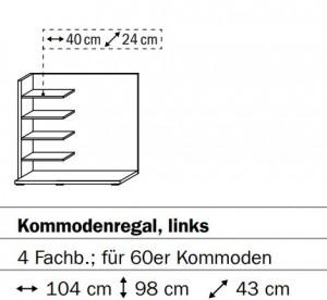 0657 Kommodenregal links - 4 Fachböden - für 60er Kommoden / Breite 104 cm / Höhe 98 cm / Tiefe 43 cm