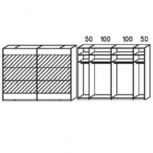 SW04 Schwebetürenschrank - Absetzung in Spiegel - Breite: 299 cm