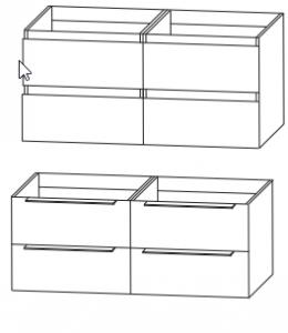 mit WUA332D33 / WUA432D2G - Waschtischunterschrank für Doppelwaschtisch / Till und Squared in 122 cm