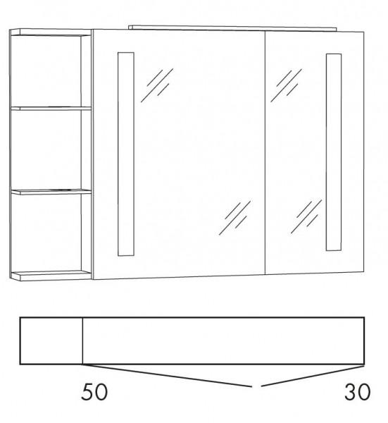 Marlin Azure Spiegelschrank 100 cm SFLSR10 L/R