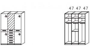 1053 Funktionsschrank / 3-türig / 1 Spiegeltüre mittig / Außentüren Hochglanz creme / Breite 142 cm / Höhe 214 cm / Tiefe 58 cm