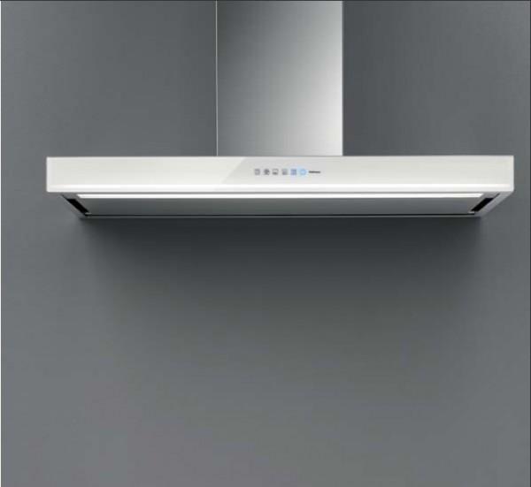 Falmec Blade 90 ED, Design, Wandhaube, 90 cm, Edelstahl / Glas weiß
