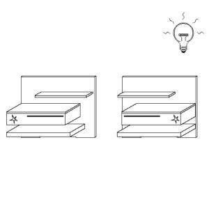 Paneel Set IV - 1 Schubkasten Hochglanz + Glasablage beleuchtet