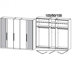 250 cm Falttürenschrank - ohne Spiegel