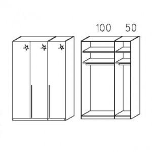S013 - Äußere Schranktüren in Hglz weiß - Breite: 151 cm
