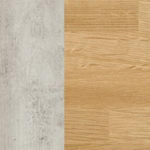 Korpus MDF betonfarbig lackiert / Schubladenfront massiv Eiche bianco geölt