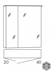 Spiegelschrank 60 cm SSAOZ24 (Lichtfarbe ca. 3000 - 6500 Kelvin regelbar)