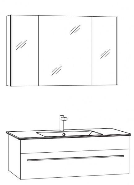 Marlin Bad 3260 Kombination 100 cm / mit Spiegelschrank - Variante 1
