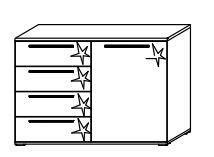 B464 Kombikommode, rechts / 1 Türe rechts - 4 Schubkästen links