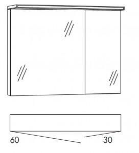 Spiegelschrank 90 cm SOBS63 (Lichtfarbe ca. 6500 Kelvin)