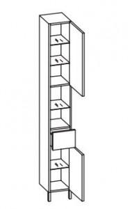 312.012529 Hochschrank / 2 Drehtüren / 2 Nischen / 1 Schubkasten / 4 Einlegeböden / 2 Füße Chrom Glanz