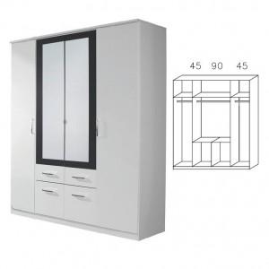 0295 Drehtürenschrank mit Kranzblende, Breite 181 cm
