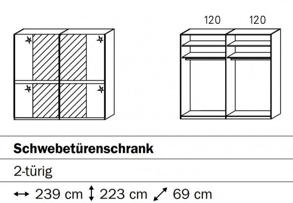 Rauch Steffen Merida Schwebetürenschrank mit Spiegelauflage SW02