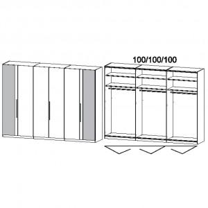 300 cm Falttürenschrank - ohne Spiegel