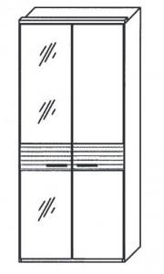 197 - 1 bronzierte Spiegeltür links, 1 Holztür rechts