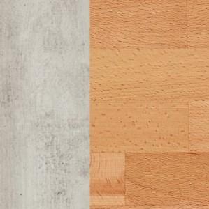 Korpus MDF betonfarbig lackiert / Schubladenfront massiv Kernbuche natur geölt