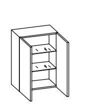 312.015030 Wandschrank / 2 Drehtüren / 2 Einelgeböden / inklusive Türdämpfer / Breite 50 cm / Höhe 70 cm  / Tiefe 20 cm
