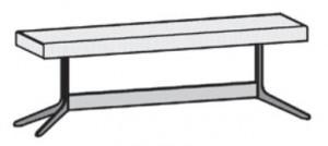 1 x 565770/71 Bettbank gepolstert in der gleichen Farbe/Material wie das ausgewählte Kopfteil, Breite: 142,2 cm / Höhe: 47 cm / Tiefe: 47 cm