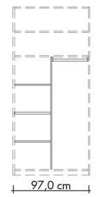 565803 T-Einteilungs-Set für Schwebetürenschränke 565002 und 565019, bestehend aus Mittelseite, 3 Einlegeböden und Kleiderstange, Breite 97 cm