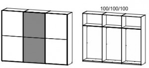4986 Schwebetürenschrank / 3-türig - Breite 300 cm / Höhe 223 cm / Tiefe 69 cm