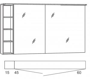 Spiegelschrank 120 cm SSAOSR46 (Lichtfarbe ca. 4500 Kelvin)