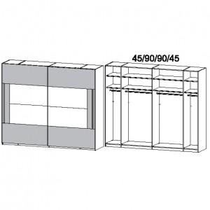 270 cm Schwebetürenschrank - ohne Spiegel