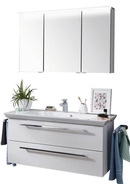 Puris Kao Line Badkombination 126 cm - Einzelwaschtisch mit Spiegelschrank