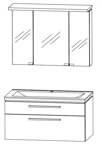 Puris Cool Line 90 cm - Kombination 3 - mit Spiegelschrank inkl. Gesimsboden mit Beleuchtung