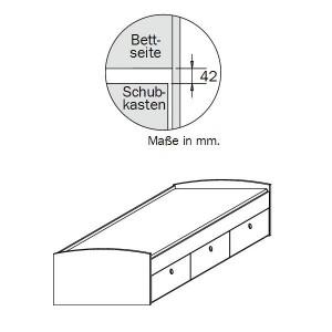 0484 Funktionsbett - mit 3 Schubkästen