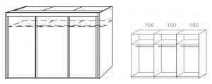 Breite 300 cm-3-türig / Holzdekor/Hochglanz