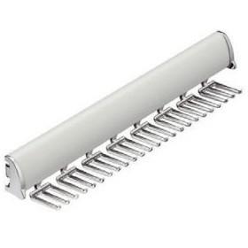 565908 Kravattenhalter ausziehbar für 24 Stück, Abdeckung Aluminium, Haken Verchromt, Vollauszug zur Montage an Kleiderschrankseite