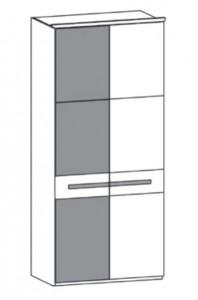 198 - 1 Color-Glastür links / 1 Holztür rechts