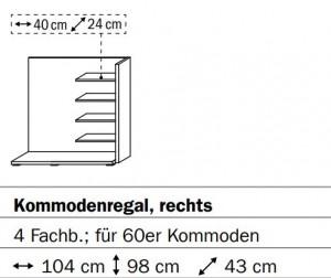 0658 Kommodenregal rechts - 4 Fachböden - für 60er Kommoden / Breite 164 cm / Höhe 98 cm / Tiefe 43 cm