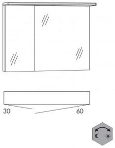 Spiegelschrank 90 cm SAOZ36 (Lichtfarbe ca. 3000 - 6500 Kelvin regelbar)
