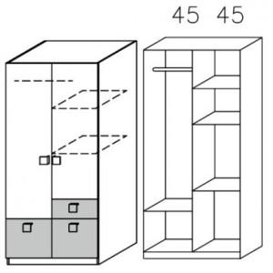 3727 Drehtürenschrank - Breite: 91 cm