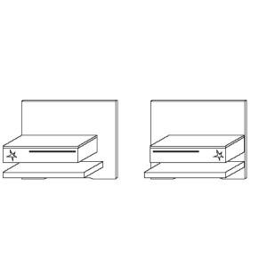 Paneel Set III - 1 Schubkasten Hochglanz,Ablage korpusfarbe