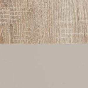 Front: Sahara Hochglanz / Korpus: Eiche Macao Holznachbildung
