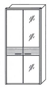 297 - 1 Holztür links, 1 bronzierte Spiegeltür rechts
