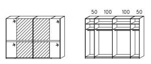SW04 Schwebetürenschrank - Innenfelder Spiegel - 2-türig / Breite 299 cm / Höhe 223 cm / Tiefe 69 cm