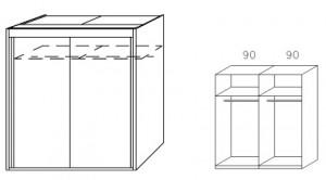 Breite 181 cm-2-türig / Holzdekor/Hochglanz