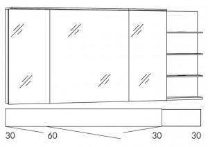 Spiegelschrank 150 cm SAOS363R / SAOS363RLS / SAOZ363R / SAOSZ363RLS