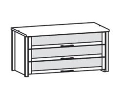 565858 Innenschubkästen für Kleiderschrank 2-türig, 3 Stück mit Glaseinsatz, inklusive Abdeckboden Lack weiß