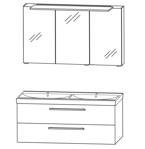 Puris Protection1 - Kombination 1 - 120 cm / mit Spiegelschrank Serie A