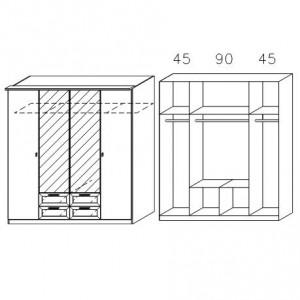 0968 Drehtürenschrank - Breite 181 cm