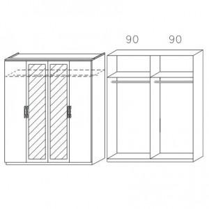 0857 mit Spiegeltüren, Breite 181 cm - 4-türig