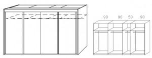 Breite 320 cm-4-türig / Holzdekor/Hochglanz