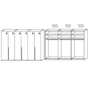 S016 - Äußere Schranktüren in Hglz weiß - Breite: 300 cm