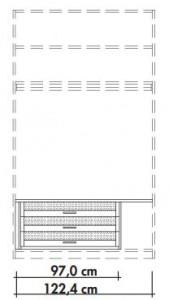 565964 Innenschubkästen für Schwebetürenschränke 565001 und 565018, 3 Stück mit Glaseinsatz inklusive Abdeckboden in Lack weiß, Breite 122,4 cm